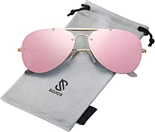 Men's Women's Aviator Sunglasses, Rimless Metal Frame...