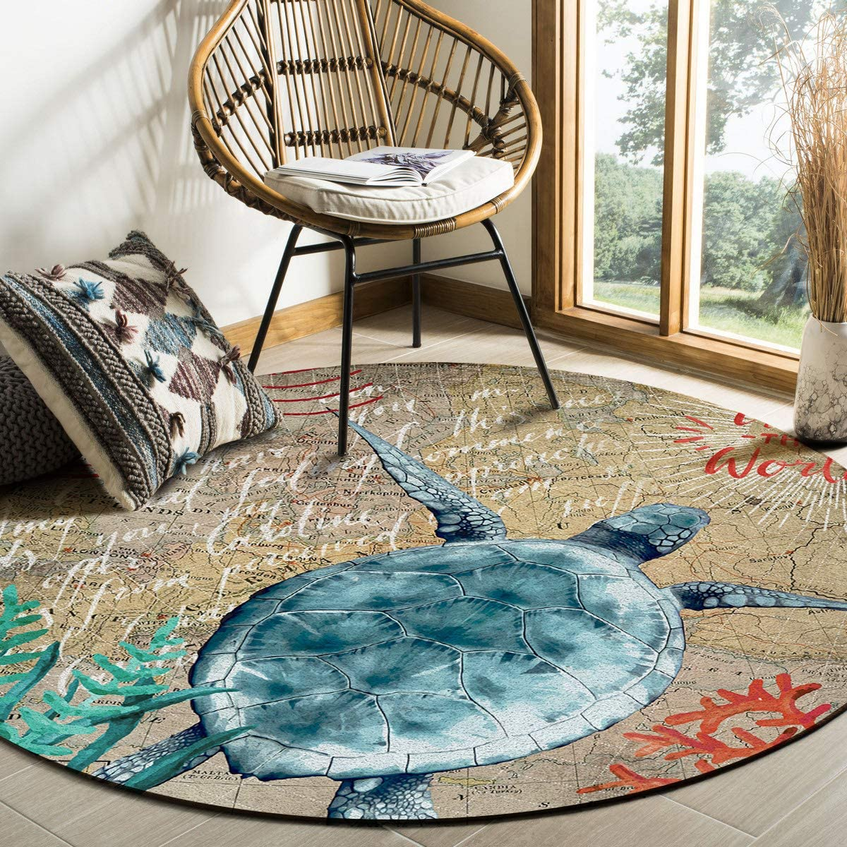 Ocean Theme Area Rug Round Rugs Turtle 6ft Collect Nautical Sea All items in the store Price reduction