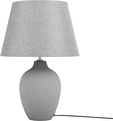 Table Lamp Ceramic Base Polycotton Shade Grey Bedside Light Fergus