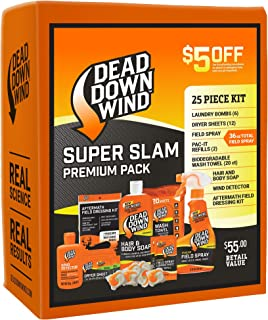 Dead Down Wind Hunting Scent Eliminators | 25 Piece Kit | Complete Odor Eliminator System for Hunting Accessories | Field Spray, Wind Detector, Laundry Detergent | Super Slam Premium Value Pack