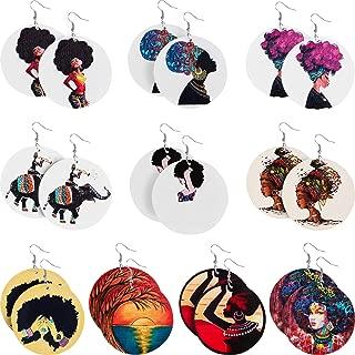 10 Pairs Round African Women Earrings Wooden Painted Earrings Ethnic Style Earring