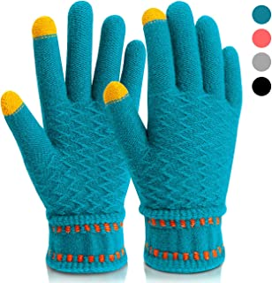 Mossio Winter Gloves Touch Screen Thick Windproof Warm Knit Mittens