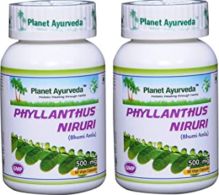 Phyllanthus Niruri (Chanca Piedra) - Stone Breaker - 2 Bottles (Each 60 Capsules, 500mg) - Planet Ayurveda (in USA)