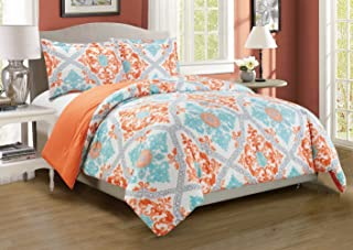 3-Piece Fine printed Abstract Duvet Cover Set KING SIZE - 1500 series high thread count Brushed Microfiber - Luxury Soft, Durable (Turquoise, Blue, White, Grey, Orange)