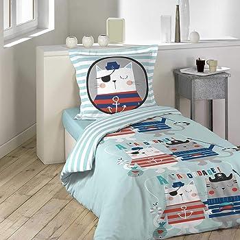 Daydream Housse de Couette 140 x 200 cm Coton Taie doreiller 60 x 70 cm Pirates 100PourcentCoton Multicolore 200 x 140 cm