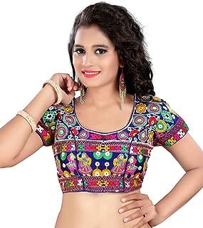 Women's Banglori Silk Choli Stiched readymade free size Saree Sari Blouse Blue