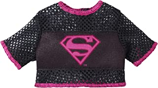 Barbie Clothes: DC Comics Character Top Dolls, Black Top with Pink Supergirl Graphic, Gift for 3 to 7 Year Olds