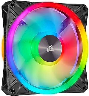 Corsair iCUE QL140 RGB, 140 mm RGB LED PWM Lüfter (34 Einzeln Ansteuerbare RGB LEDs, Schwindigkeiten Bis zu 1,250 U/Min, Geräuscharm) Einzelpackung   schwarz