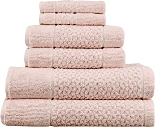 Classic Turkish Towels Luxury 6 Piece Genuine Cotton Bath Towel Set - Jacquard Woven Soft Textured Towels Made with 100% T...
