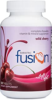 Bariatric Fusion Complete Chewable Multivitamin and Mineral Supplement Wild Cherry 120 Tablets for Gastric Bypass and Slee...