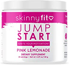 SkinnyFit Jump Start Pre Workout Supplement for Women 30 Servings - Creatine Free Powdered Mix Drink to Boost Energy, Focus, and Endurance Pink Lemonade Flavor