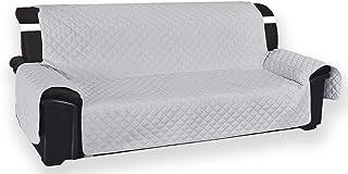 Tex Family Vivy Housse de protection matelassée pour canapé 2 places avec assise de 120 cm de long, gris perle -