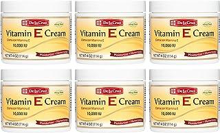 De La Cruz Vitamin E Cream 10,000 IU, Allergy Tested, No Artificial Colors, Made in USA 4 OZ. (6 Jars)