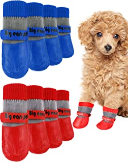 Weewooday 8 Pieces Dog Socks Non Slip Paw Protector Waterproof Pet Sock with Straps Rubber Sole Grippers Outdoor Dog Socks...