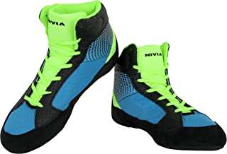Nivia Men's New Wrestling-1 Mesh PVC Suede Blue Wrestling Shoes