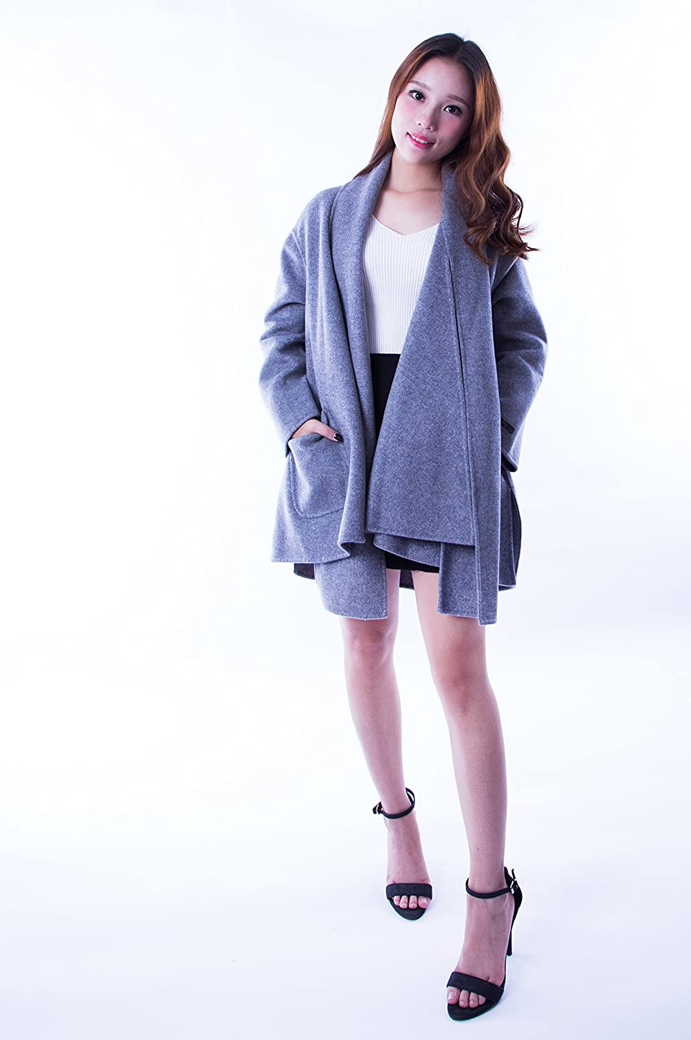 CG Women's Fashion Long Trench Coat Wool Jacket Warm Cloak Overcoat with Pocket