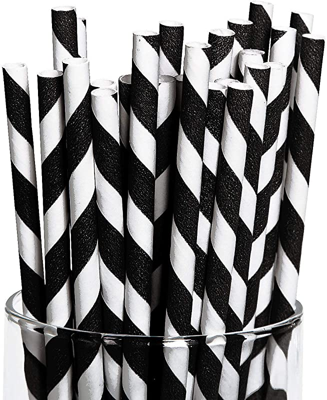 Fun Express Black Paper Striped Straws 24pc Party Supplies Drinkware Straws 24 Pieces