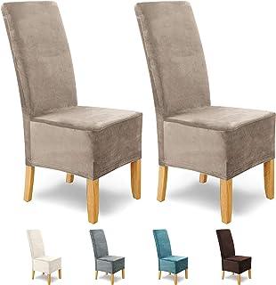SCHEFFLER-Home Puma Velvet Fundas de sillas, Estirable Cubiertas, Terciopelo extraíble Funda con Banda elástica, Piedra-Beige, Juego de 2