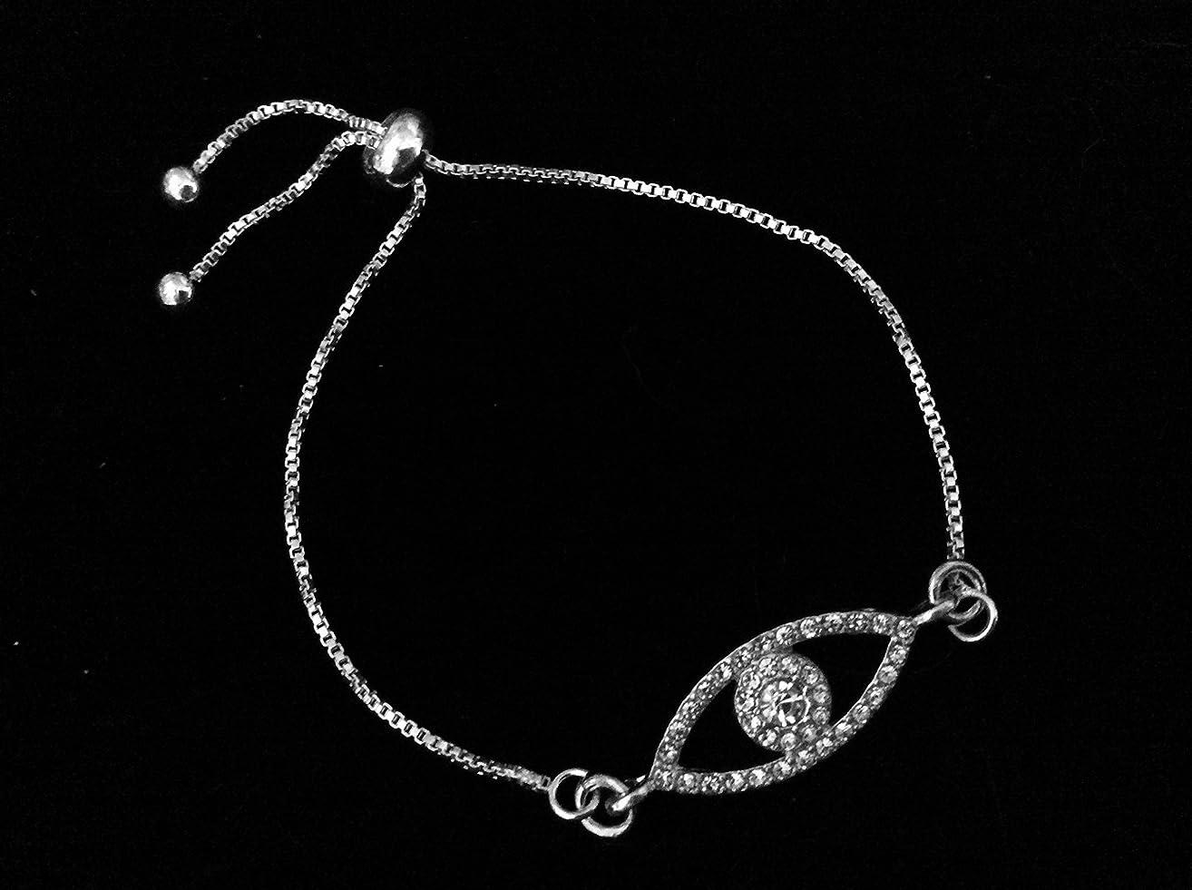 Crystal Evil Eye Bolo Bracelet Silver Adjustable Bracelet Gift One Size Fits All Charm Bracelet Good Luck Message Jewelry