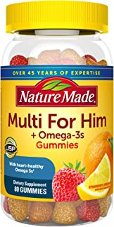 Nature Made Men's Multivitamin + Omega-3 Gummies, Daily Nutritional Support, 80 Count (Packaging May Vary)