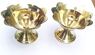 Anika Shopify Diya Akhand Jyoti, Lamp puja Lotus Diya Made of Brass, Perfect for Home,Office puja Decoration, Temple puja & Best for Gift Purpose, Size…. inch - Set of 2