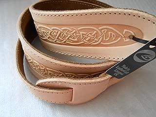 Celtic Knot Design Real Leather Guitar Strap - Light Tan