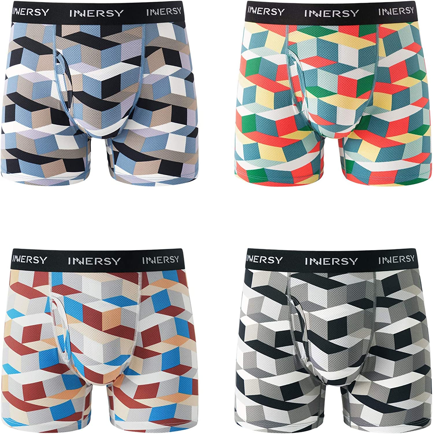 INNERSY Men's Mesh Boxer Briefs Cooling Breathable Sports Underwear W/Fly 4-Pack