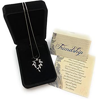 Smiling Wisdom - Vine Leaf Necklace Friendship Gift Set - Reason Season Lifetime Friend Heartfelt Message - Unique Appreciation Gifts For Encouraging Best Women BFF - Platinum Plated - Silver