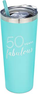 SassyCups 50th Birthday Tumbler | 50 Years Fabulous | 22 Ounce Engraved Mint Engraved Stainless Steel Insulated Tumbler with Lid and Straw | Fiftieth Bday Travel Mug | Women Turning Fifty