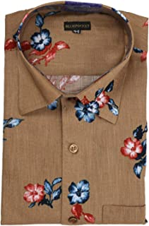 BLUEPOCKET Printed Shirt for Men. Casual, Cotton, Regular Fit, Rounded Hemlines (Brown Print)
