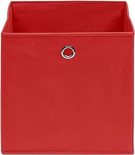Festnight Boîtes de Rangement Ouvertes/Paniers de Rangement/Boîtes de Rangement 4 pcs Tissu Intissé 28x28x28 cm Rouge