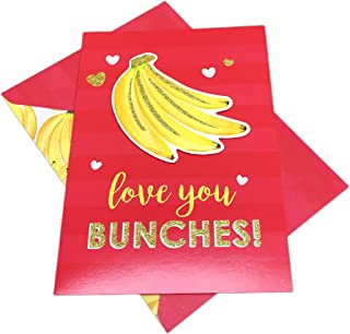 Love You Bunches Embellished Bunch of Bananas Valentines Day Holiday Love Greeting Card & Envelope