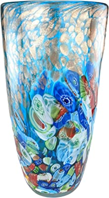 """Murano Tall Hand Blown Glass Vase Blue Sommerso Fused Art Sculpture 8/"""""""
