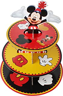 3 Tier Mickey Cardboard Cupcake Stand - Cartoon Disney Mickey Mouse Party Round Cupcake Display Tower - Baby Shower Kids Birthday - Petit Fours Candy Buffet Stand Supplies