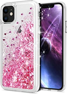 for iPhone 11 Case, WORLDMOM Double Layer Design Bling Flowing Liquid Floating Sparkle Colorful Glitter Waterfall TPU Prot...