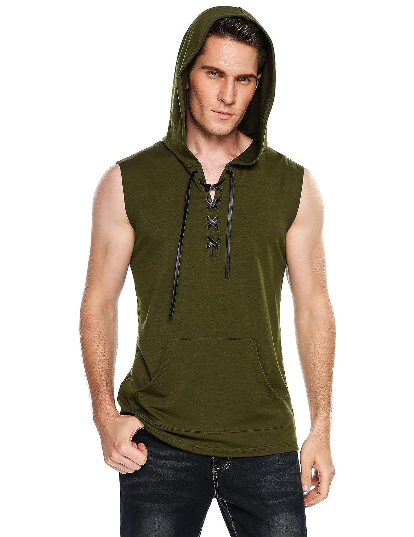 COOFANDY メンズ ヒップスター ヒップホップ ノースリーブ レースアップタンク フード付きTシャツ ポケット付き