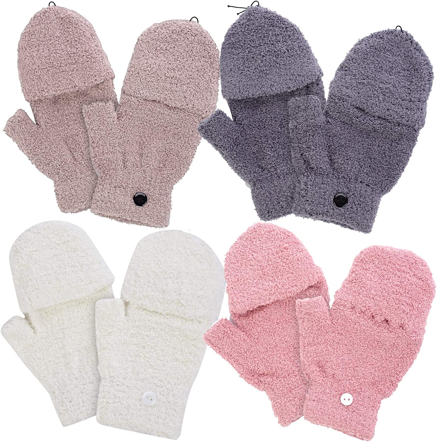 4 Pairs Coral Velvet Half Finger Gloves- 4 Colors Knitted Convertible Fingerless Gloves Mittens Thickened Stretchy Winter Warm Mittens in Common Size for Women and Men (Khaki, Gray, Pink, Beige)