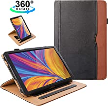 ZoneFoker Samsung Galaxy Tab A 10.5 inch 2018 SM-T590/T595 Tablet Leather Case, 360 Degree Rotating Multi-Angle Viewing Auto Sleep/Wake Folio Stand Cover with Pencil Holder and Card Pocket - Black