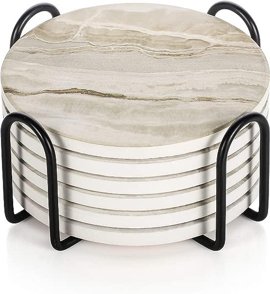 提升器饮料杯垫带支架大理石风格吸水杯垫套装避免家具被刮伤和弄脏适合各种杯子 4 英寸一套 6