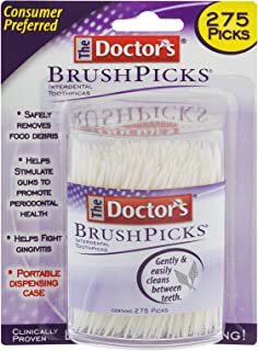 The Doctor's BrushPicks Interdental Toothpicks, Helps Fight Gingivitis, 275 Count, Pack of 4