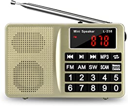 FM AM SW All-Band Receiver with Best Reception, Portable Radio with Headset Output/AUX Input/MP3/External Speaker/32GB TF Card, Stores Stations Automatically and Powered by Lithium Battery