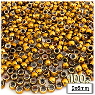 100pc Plastic Round Metallic Pony Beads 9x6mm Gold Beads