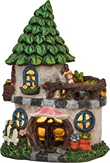 TERESA'S COLLECTIONS 8.7 Inch Fairy Garden House Statues Outdoor Cottage Sculptures with Solar Lights, Polyresin Garden Fi...