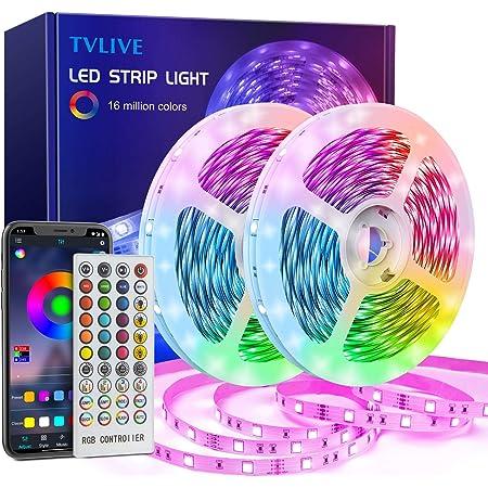 TVLIVE Ruban LED 20M Bande LED RGB avec Télécommande à 40 Touches, Synchroniser avec Rythme de Musique, Contrôlé par APP du Smartphone, LED Ruban pour Maison Décoration, Cuisine, Mariage, Fête