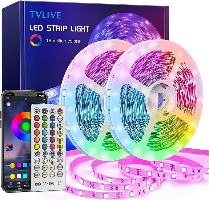 1741 opinioni per Striscia LED 20M,TVLIVE Bluetooth Nastri LED RGB 5050 Musicale,Controllato da
