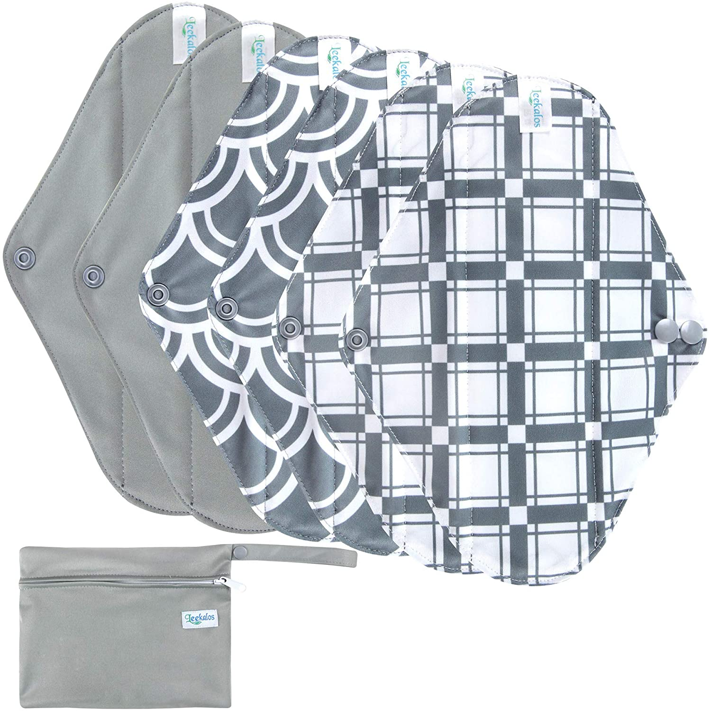 Leekalos Reusable Menstrual Pads - Bamboo Menstrual Cloth Pads | Light Incontinence Pads | Reusable Sanitary Pads - Pack of 6, 1 Cloth Mini Wet Bag (Small, Black Flower) : Health & Household