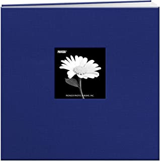 Pioneer 12-Inch by 12-Inch Book Cloth Cover Postbound Album with Window, Cobalt Blue