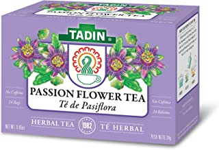 Tadin Herb & Tea Co. Passion Flower Herbal Tea, Caffeine Free, 24 Tea Bags, Pack of 6