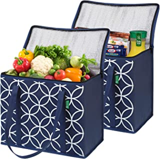 XL Insulated Reusable Grocery Bag Set (2 Pack - Blue). Durable, Premium Quality Cooler Bags with Solid Bottom and Sturdy Zipper. Insulated Bag Totes for Hot or Cold Food Delivery, Groceries, Shopping