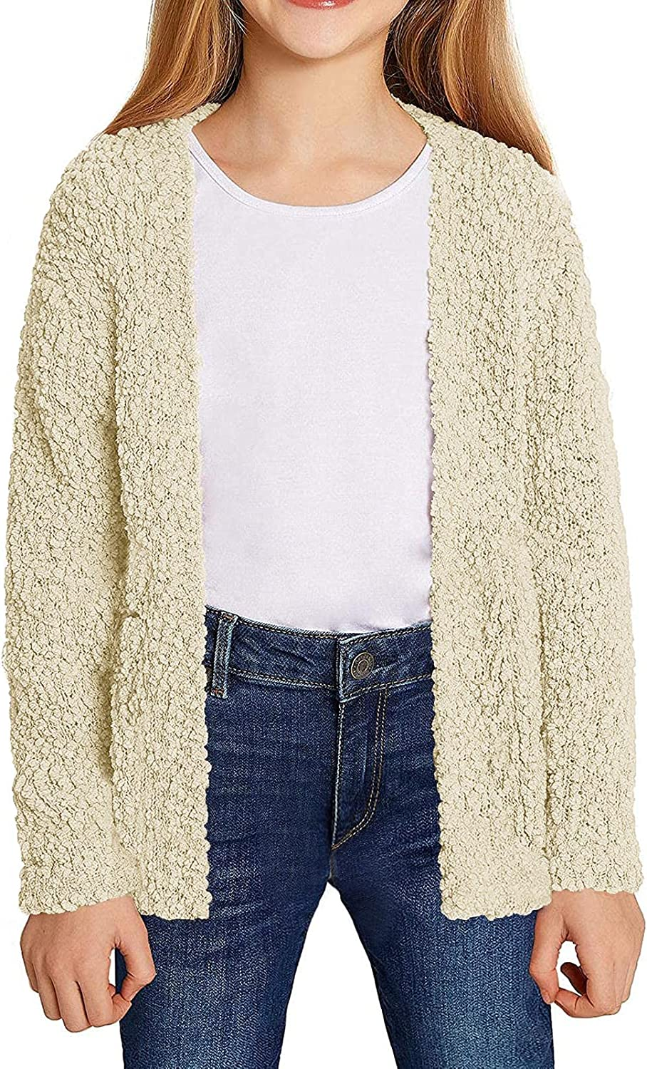 Girls Kids Max 80% OFF Casual Cardigans Sweaters Front Knitted Sweater Genuine Open